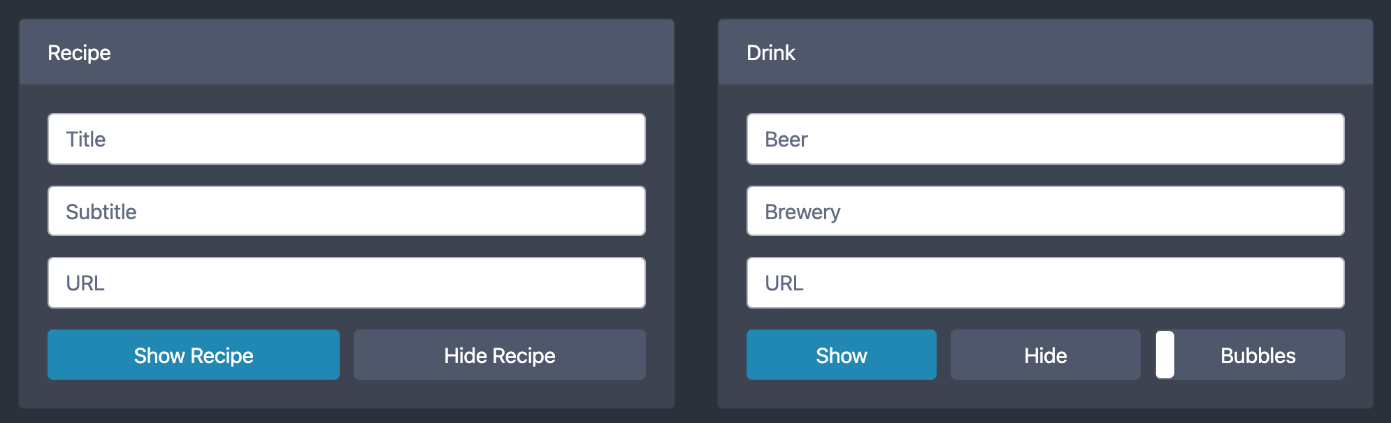 Recipe and Drink Panels