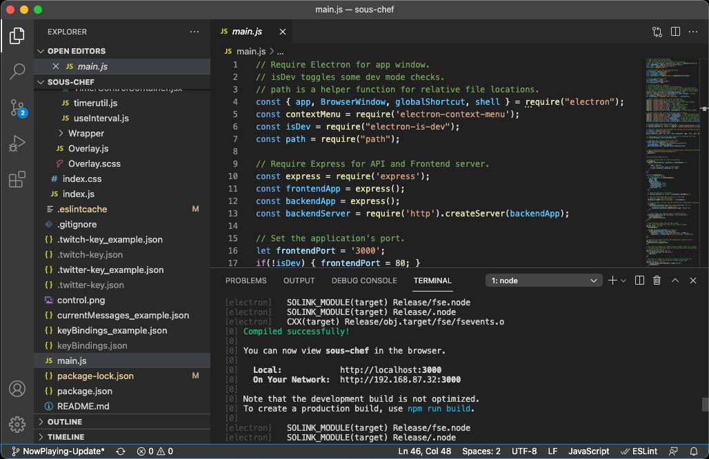 VS Code Screenshot of Sous Chef's Dev Environment